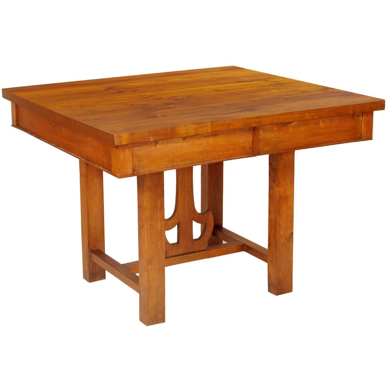 1910s Tirolean Art Nouveau Table, Solid Larch and Fir Restored and Wax-Polished