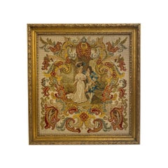 1910s Victorian Figural Needlepoint with a Gold Gilt Wood Frame from Park Ave