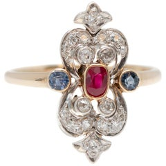 1910s Victorian Ruby, Sapphire and Diamond Two-Tone Shield Ring
