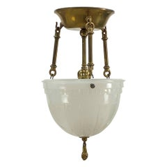 1910s Victorian Semi Flush Pendant Light Fluted Hardware Milk Glass Shade