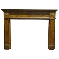 1910s Wood Regency Mantel Done in a Faux Marble Look with Two Brass Florets