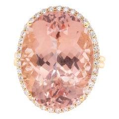 19.11 Carat Pink Morganite and White Diamond Ring