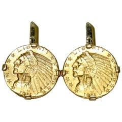 1911-D Indian Head $2.50 Coin Cuff Links