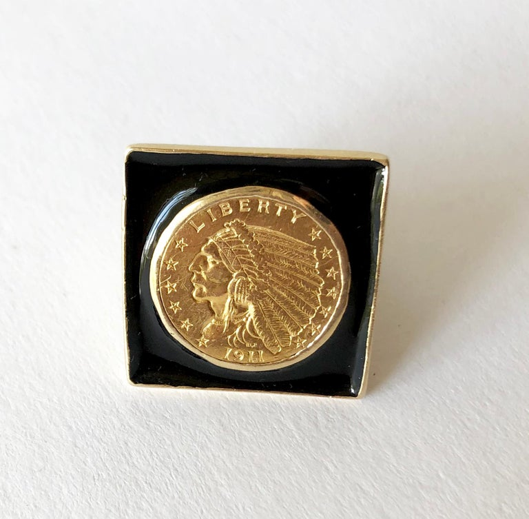 Large scale 1911 Indian head quarter eagle gold coin and enamel ring, circa 1960's.  Coin has 90% gold content, while the ring bezel and shank tests as 14K gold.  Ring is a finger size 8 to 8.5 and the face measures 1