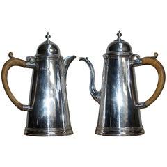 1912 Britannia Sterling Silver Harry Freeman Cafe Au Lait Coffee Milk Pots Jugs