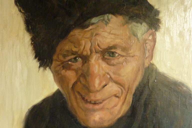Folk Art 1912 Impressionist Painting of an Old Fisherman in Volendam by Georg Hering For Sale