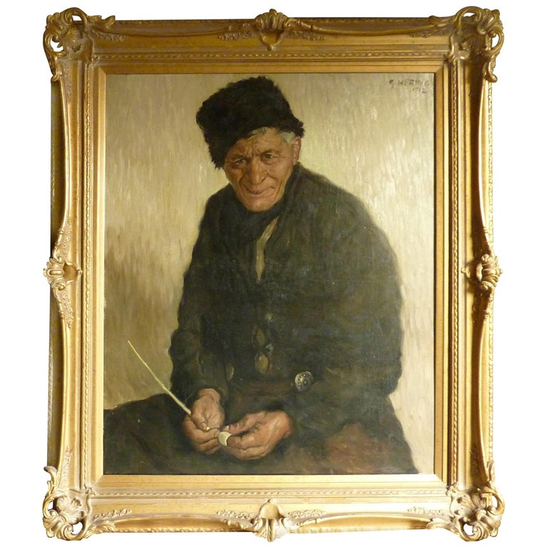 1912 Impressionist Painting of an Old Fisherman in Volendam by Georg Hering For Sale