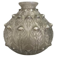 1912 René Lalique Fougeres Vase in Frosted Glass with Grey Patina, Ferns