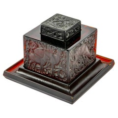 1912 René Lalique Inkwell Biches Deep Red Amber Glass