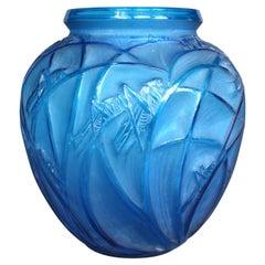 1912 René Lalique Sauterelles Electric Blue Vase Glass White Patina Grasshoppers