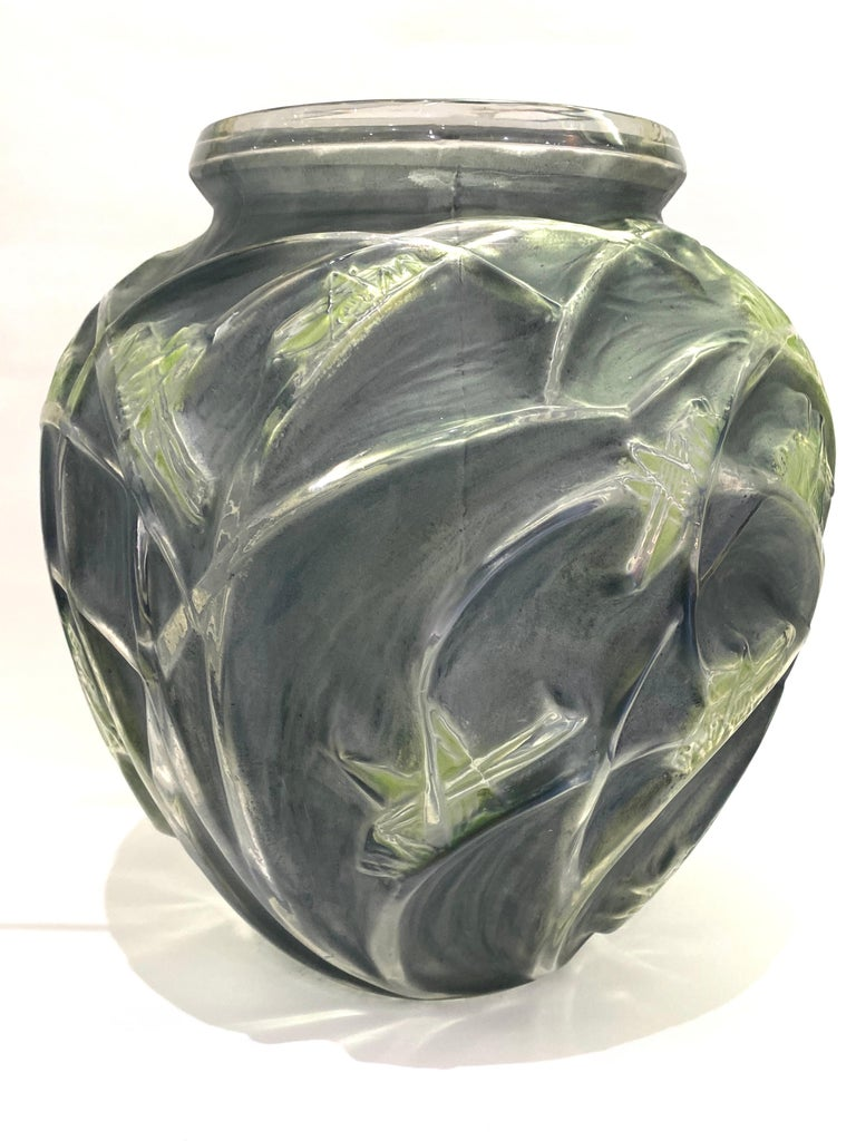 Art Deco 1912 René Lalique Sauterelles Vase Glass with Blue and Green Patina Grasshoppers For Sale