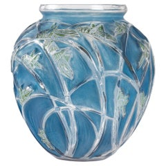 1912 René Lalique Sauterelles Vase Glass with Blue and Green Patina Grasshoppers