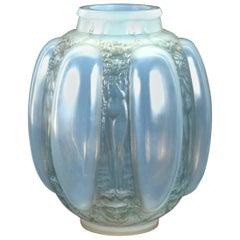 1912 Rene Lalique Six Figurines et Masques Vase Triple Cased Opalescent Glass