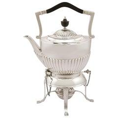 1913 Antique Sterling Silver Spirit Tea Kettle