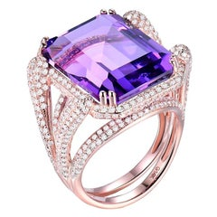 19.13 Carat Amethyst Diamond Ring 14 Karat Rose Gold