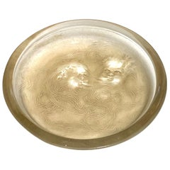 1913 Rene Lalique Deux Zephyrs Astray Frosted Glass with Sepia Patina