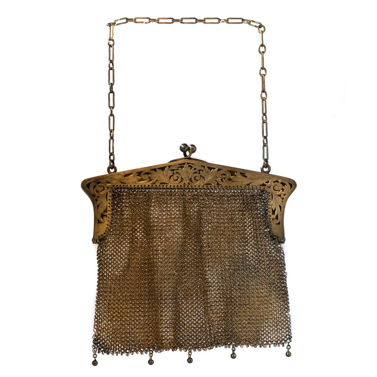 1914 Antique Sterling Silver Mesh Purse For Sale