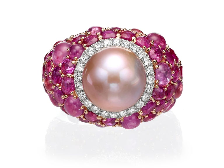 Contemporary 18.31 Carat Pink Pearl Pink Sapphire Ruby Diamond 18K Rose Gold Cocktail Ring For Sale