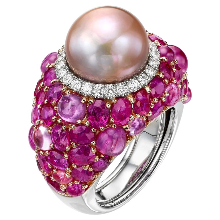 18.31 Carat Pink Pearl Pink Sapphire Ruby Diamond 18K Rose Gold Cocktail Ring For Sale