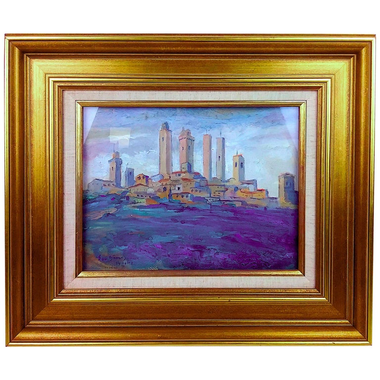 1914 Oil on Board by Listed Am. Artist Ernest David Roth San Gianigors, Italy For Sale