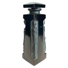 1914 René Lalique Ambre Perfume Bottle D'Orsay Black Glass White Patina