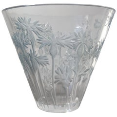 1914 René Lalique Bluets Vase in Clear and Blue Stained Glass, Flowers