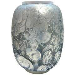 1914 Rene Lalique Monnaie du Pape Vase in Triple Cased Opalescent Glass Patina