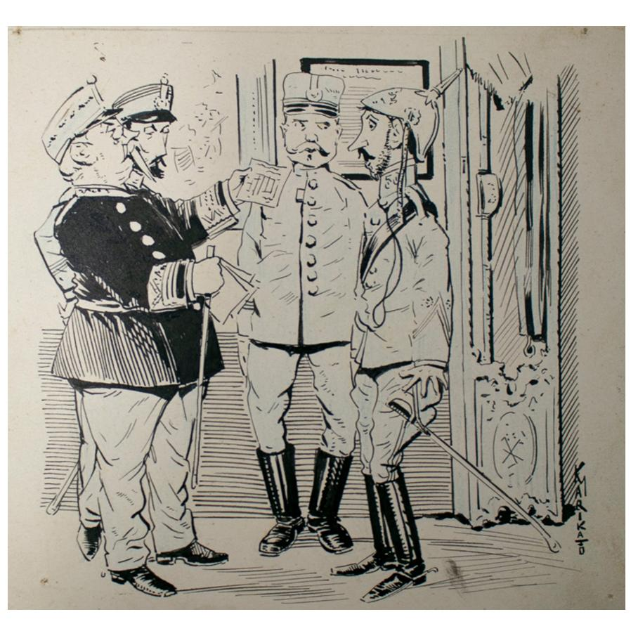 1914 Signed Caricature Drawing of European Army Generals