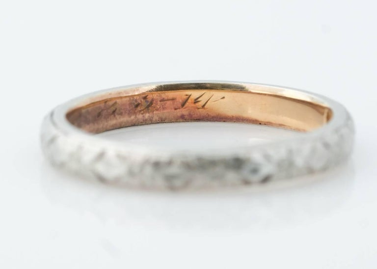 1920s Art Deco Two Tone 18 Karat Gold Wedding Band Ring This Clic Features A