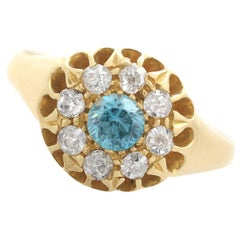 1915 Antique Blue Zircon and Diamond Yellow Gold Cocktail Ring