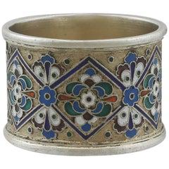 1915 Antique Russian Silver Gilt and Polychrome Cloisonné Enamel Napkin Ring
