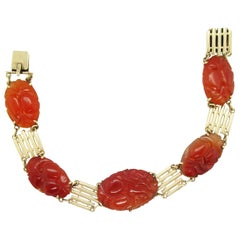 1915 Art Deco 14 Karat Yellow Gold Carved Carnelian Bracelet