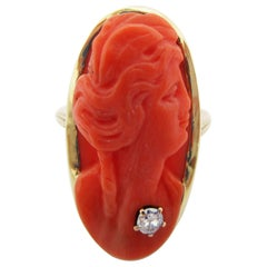 1915 Art Deco 16 Karat Natural Undyed Coral Cameo Ring