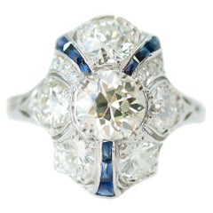 1915 Art Deco GIA 3.3 Carat Total Diamond and Sapphire Platinum Shield Ring