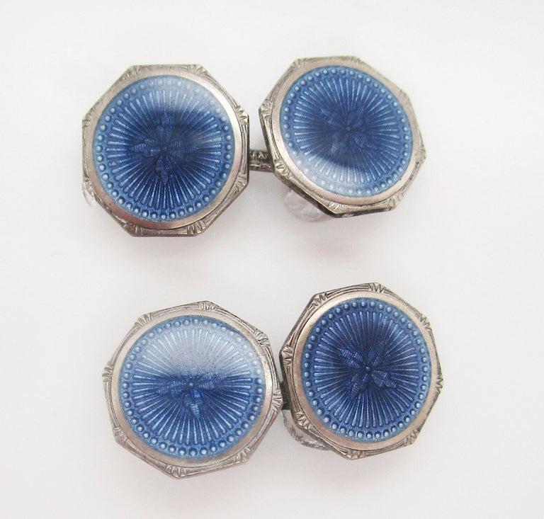 1915 Art Deco Krementz Steel Dark Blue Serling Silver Enamel Cufflinks In Excellent Condition For Sale In Lexington, KY
