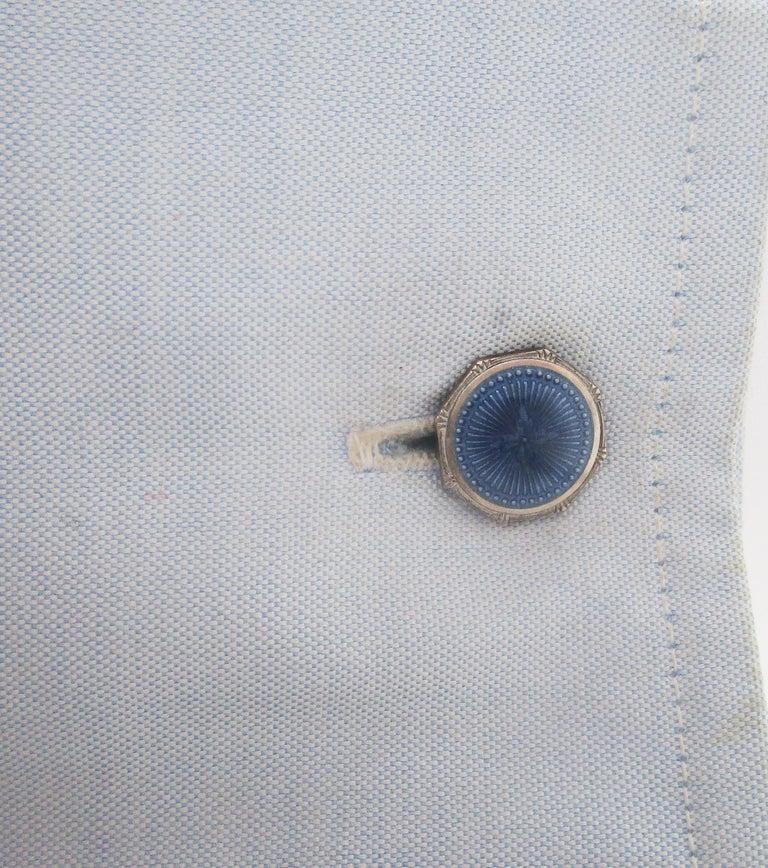 Women's or Men's 1915 Art Deco Krementz Steel Dark Blue Serling Silver Enamel Cufflinks For Sale