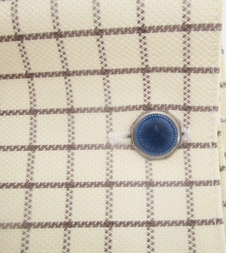 1915 Art Deco Krementz Steel Dark Blue Serling Silver Enamel Cufflinks For Sale 1