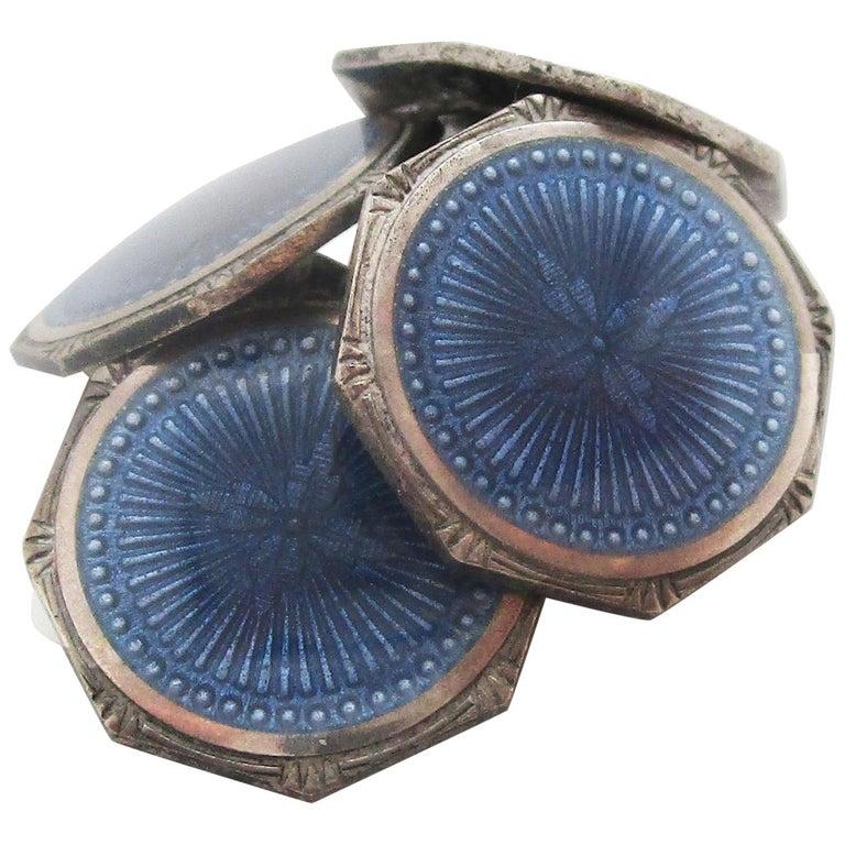 1915 Art Deco Krementz Steel Dark Blue Serling Silver Enamel Cufflinks For Sale