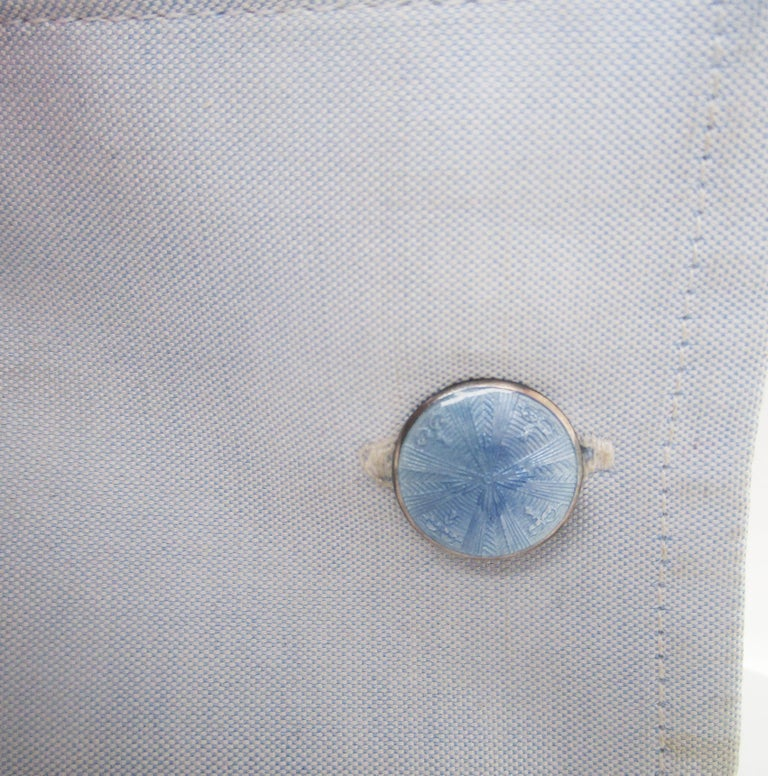1915 Art Deco Soft Blue Guilloche Enamel Cufflinks In Excellent Condition In Lexington, KY