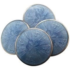 1915 Art Deco Soft Blue Guilloche Enamel Cufflinks