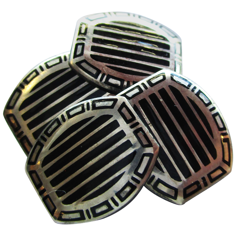 1915 Art Deco Sterling Silver Black Enamel Cufflinks