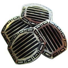 1915 Art Deco Sterling Silver Black Enamel Cufflinks