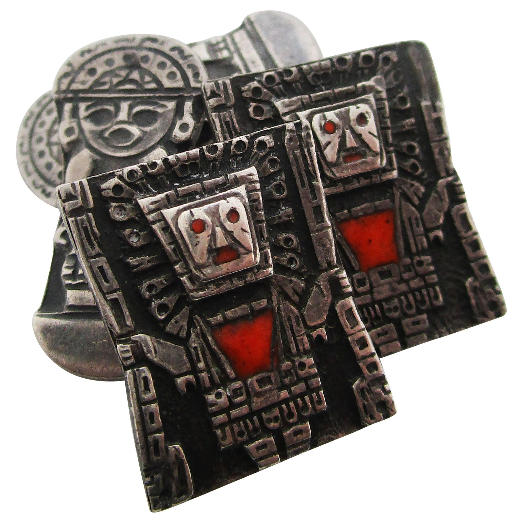 1915 Art Deco Sterling Silver Enamel Aztec Cufflinks