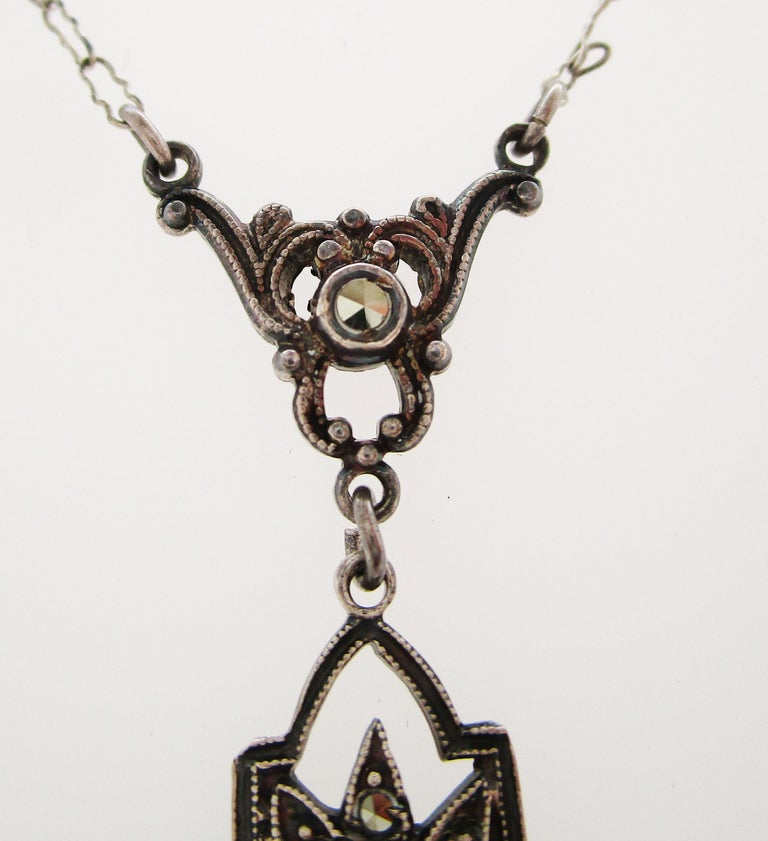 1915 Art Deco Sterling Silver Marcasite Necklace In Good Condition For Sale In Lexington, KY
