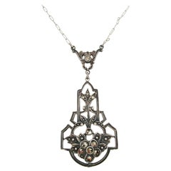 1915 Art Deco Sterling Silver Marcasite Necklace
