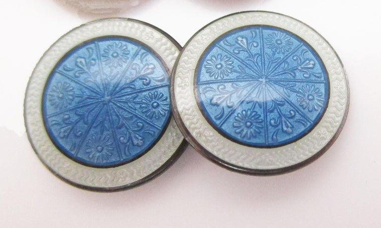 1915 Art Deco Sterling Silver Sky Blue Floral Enamel Cufflinks In Excellent Condition In Lexington, KY
