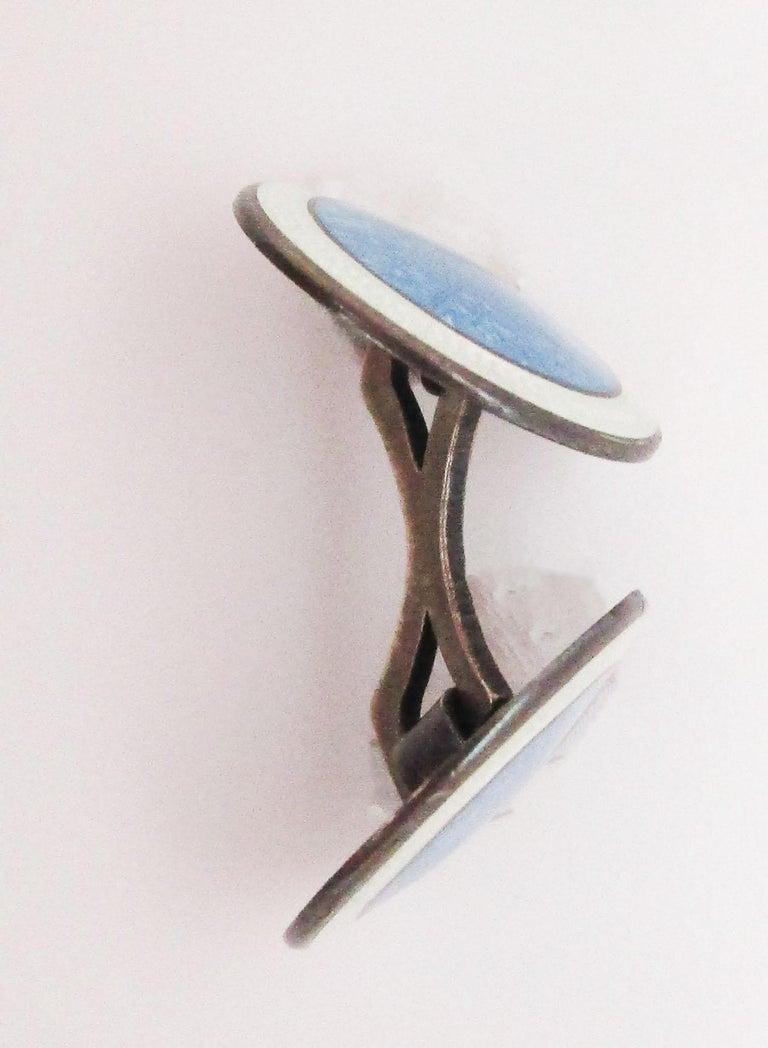 1915 Art Deco Sterling Silver Sky Blue Floral Enamel Cufflinks 4