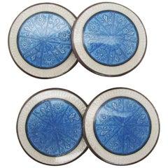 1915 Art Deco Sterling Silver Sky Blue Floral Enamel Cufflinks