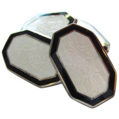 1915 Art Deco Two-Tone Enamel Sterling Silver Cufflinks