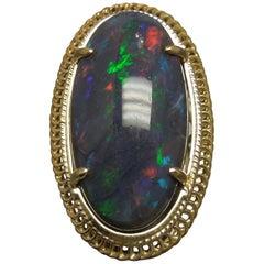 19.15 Carat GIA Midnight Black Opal 18 Karat Gold Ring